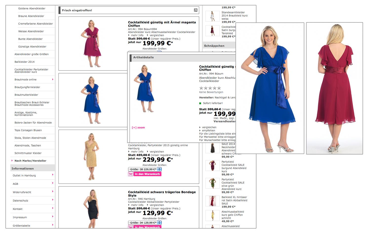 Bestellen im Abendkleider-Online-Shop